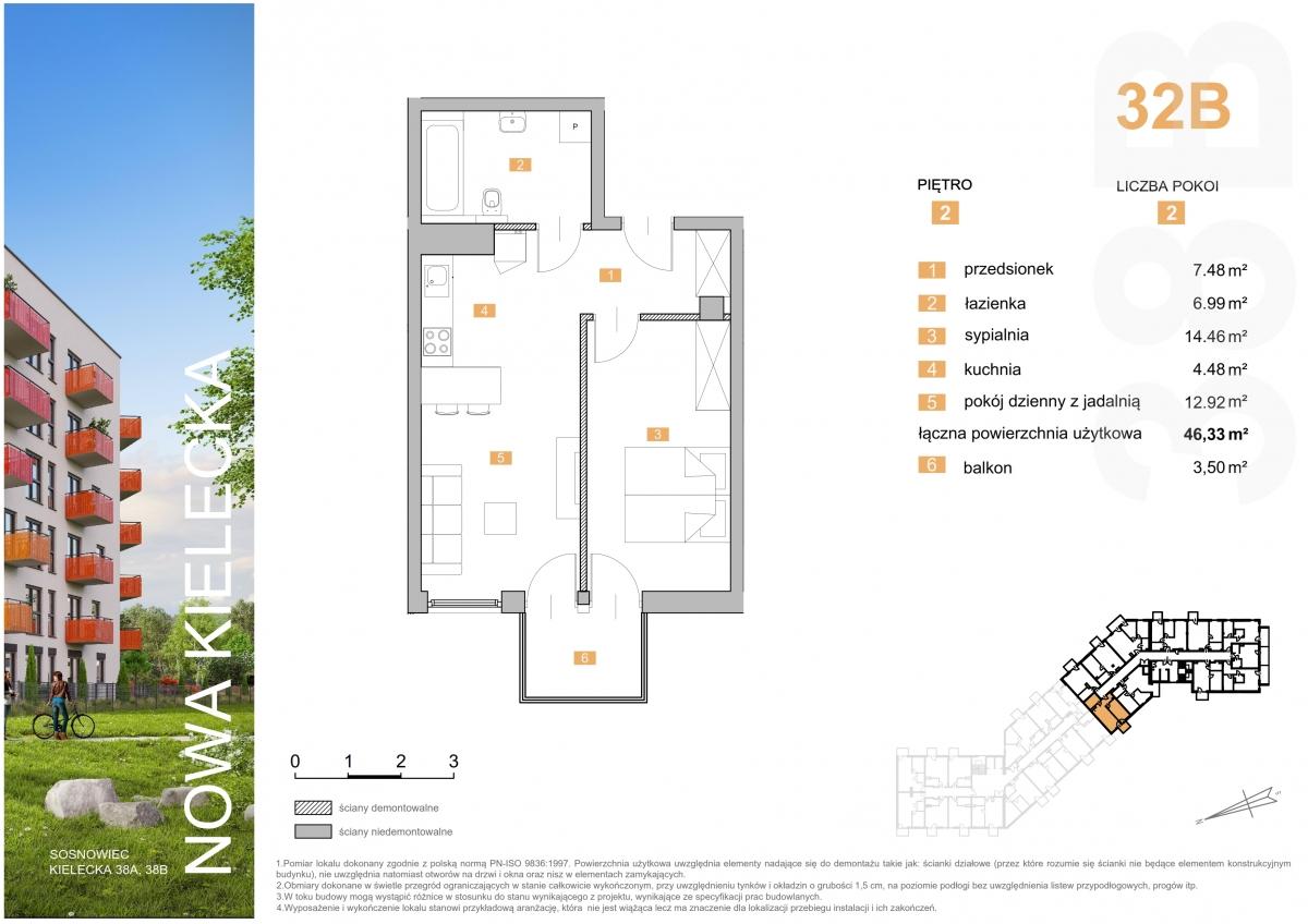 Mieszkanie 32B - 46,33 m2